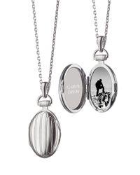 "Monica Rich Kosann | Metallic 3/4"" Pinstriped Silver Oval Locket Necklace | Lyst"