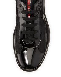 Prada - Black Punta Ala Leather Sneaker for Men - Lyst