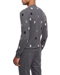 Ermenegildo Zegna - Gray Cashmere Rectangle Crewneck Sweater for Men - Lyst