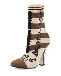 Fendi - Black Striped Knit Sock Bootie - Lyst