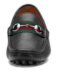 Gucci - Black Damo Leather Horsebit Driver for Men - Lyst