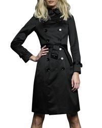 Burberry | Black Sateen Trench Coat | Lyst