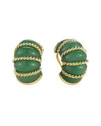 "Seaman Schepps - Metallic 18k Gold & Green Aventurine ""shrimp"" Earrings - Lyst"