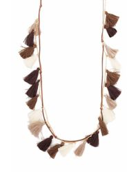 bevello - Brown Mini Tassel Necklace - Lyst