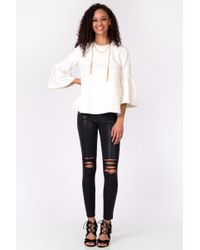 Oxford Sunday | White Bell Sleeve Ponte Top | Lyst