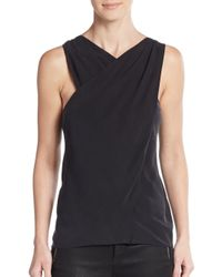 Ramy Brook | Black Becky Pleated Crossover Top | Lyst