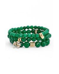 Sequin - Green 'color Karma' Bead Stretch Bracelet - Emerald - Lyst