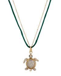 Betsey Johnson | Metallic Crystalencrusted Turtle Pendant Necklace | Lyst