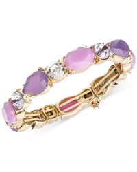 Nine West | Purple Gold-tone Stone Stretch Bracelet | Lyst