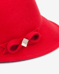 Ted Baker | Red Bow Detail Felt Cap | Lyst