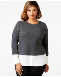 Calvin Klein | Gray Plus Size Waffle-knit Layered-look Top | Lyst