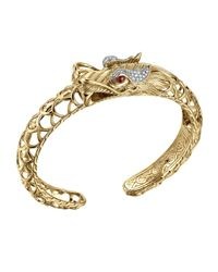 John Hardy | Metallic Batu Naga 18k Diamond & Ruby Dragon Cuff | Lyst