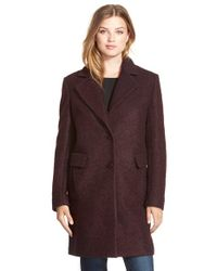 DKNY | Purple Boucle Reefer Coat | Lyst
