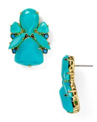 Kate Spade | Green Crystal Cluster Bib Clip Earrings Turquoise | Lyst