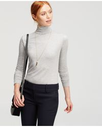 Ann Taylor | Gray Long Sleeve Turtleneck | Lyst