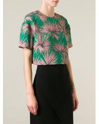 MSGM - Green Tropical Print Brocade Top - Lyst