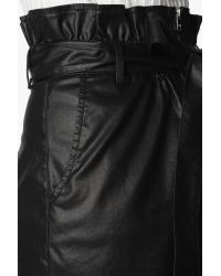 7 For All Mankind Paper Bag Waist Skirt With Zip In Black