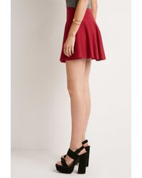Forever 21 | Red Ribbed Skater Skirt | Lyst