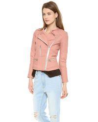 IRO | Pink Efia Leather Jacket | Lyst