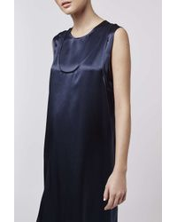 TOPSHOP | Blue Double Layer Satin Dress By Boutique | Lyst