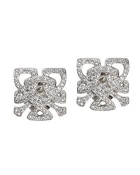 Biba | Metallic White Gold And Diamond Mini Logo Stud Earrings | Lyst