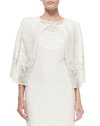 St. John - Natural Lace-trimmed Sparkle Shantung Knit Jacket - Lyst