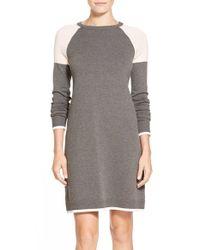 Eliza J - Gray Colorblock A-line Sweater Dress - Lyst
