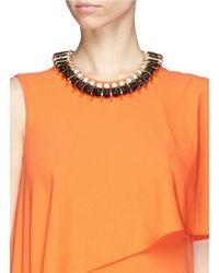Venna - Multicolor Chain Link Pearl Pavé Collar Necklace - Lyst