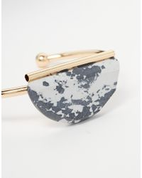 ASOS - Metallic Mono Semi-circle Open Cuff Bracelet - Lyst