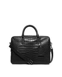 Michael Kors - Black Bryant Large Embossed-leather Briefcase for Men - Lyst