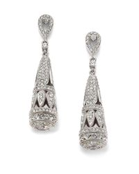 Adriana Orsini - Metallic Isis Pavé Crystal Deco Teardrop Earrings - Lyst