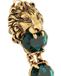 Gucci - Green Gold-plated Crystal Clip Earrings - Lyst