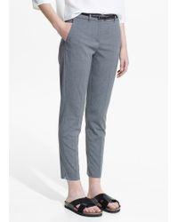 Mango - Gray Belt Straight-Fit Trousers - Lyst