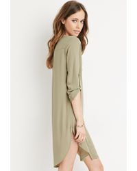 Forever 21 | Green Collarless Shirt Dress You've Been Added To The Waitlist | Lyst