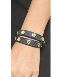 Tory Burch - Blue Double-Wrap Logo Stud Bracelet - Indigo/Shiny Brass - Lyst