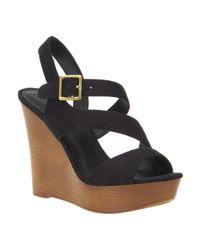 Nine West | Black Daring Wedge Sandals | Lyst