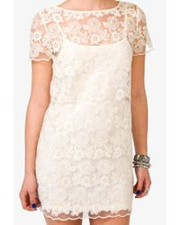 Forever 21 - Natural Embroidered Lace Dress - Lyst