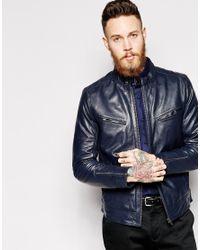 Lyst Asos Leather Biker Jacket In Blue For Men