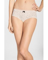 Kensie | Natural 'rhea' Lace Boyshorts | Lyst
