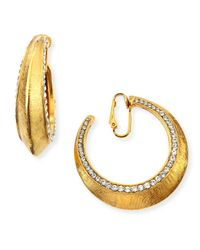 Jose & Maria Barrera | Metallic Gold-plated Clip-on Hoop Earrings With Crystals | Lyst