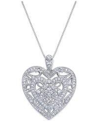 Macy's - Metallic Diamond Heart Pendant Necklace In Sterling Silver (1/2 Ct. T.w.) - Lyst