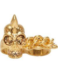 Alexander McQueen | Metallic Gold Spiked Skull Double Ring | Lyst