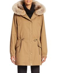 Vince - Green Fur-lined Parka - Lyst