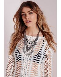 Missguided - Metallic Layered Statement Necklace - Lyst