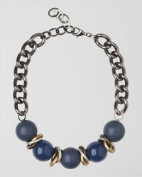 Jaeger - Blue Large Textured Bead Necklace - Lyst