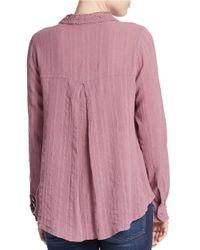 Free People | Purple Lace Detail Cotton Blouse | Lyst