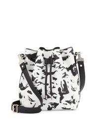 Proenza Schouler - Black Medium Feather-Print Bucket Bag - Lyst