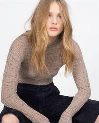 Zara | Brown Openwork Sweater | Lyst