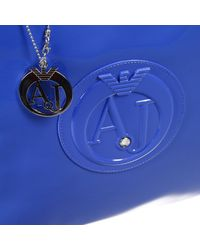 Armani Jeans | Blue Handbag Borsa Patent Shopping Grande | Lyst
