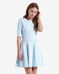Ted Baker   Blue Stitch Detail Skater Dress   Lyst